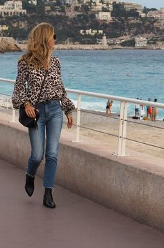 Nice Promenade Leopard Lily and Lionel Blouse Blue AG Jeans Black Carvel Boots Have A Lovely Weekend, Ag Jeans, Biker Boots, Camel Coat, Love To Shop, Leather Leggings, Blue Blouse, London Fashion, Happy Shopping