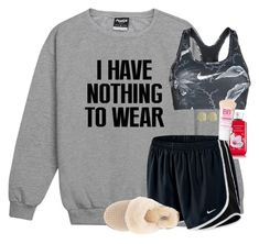 """I HAVE NOTHING TO WEAR. LOL."" by amberfmillard-1 ❤ liked on Polyvore featuring NIKE, Maybelline, UGG and Initial Reaction"