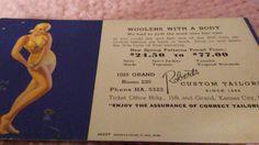 Ink blotter Risque Earl Moran pin up early Kansas City Mo.Roberts Tailor adverti