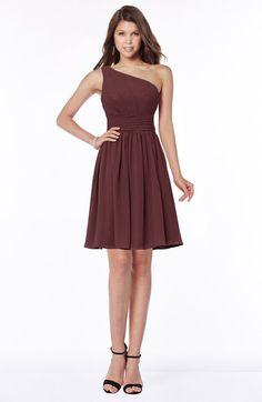 Burgundy Classic One Shoulder Sleeveless Chiffon Knee Length Ruching Bridesmaid Dresses