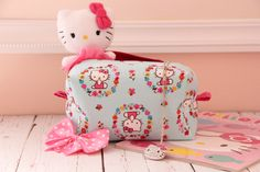 Hello Kitty Floral Inspired Print Handmade Designer Fabric Cosmetic Bag  Makeup Purse  Accessory Bags  Accessories Storage  Travel (19.99 USD) by AshleyJadeCreations