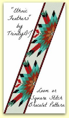 Ethnic Feathers Loom or Square Stitch beadwork pattern