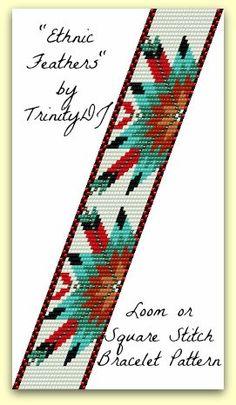 BPET002  Ethnic Feathers  Loom or Square Stitch by trinitydj, $7.50