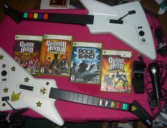 GUITAR HERO BUNDLE XBOX 360 Wired 2 XPLORERS 4 Games, Microphone, 1 Strap  #Microsoft