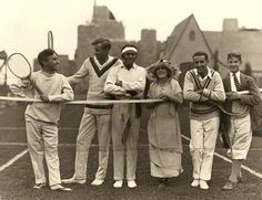 Today is the start of the Wimbledon tennis tournament. In honor of the day and all the athletes who come to play, here is a photo of avid tennis player Charlie Chaplin, 3 time Wimbeldon champion Bill Tilden, Douglas Fairbanks, Mary Pickford and two unknown gents. They look to be on the UA studio tennis court.
