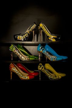 Who knew Harry Potter-themed wedding shoes could be so... sexy?  Reddit user akasha446 posted these shoes. . .hand painted by the bride's sister-in-law for the Big Day. As to who wore what? The bride got to rock the black Harry Potter and Hogwarts stilettos, while the bridesmaids each wore a pair representing the four houses: Gryffindor, Ravenclaw, Hufflepuff, and Slytherin.