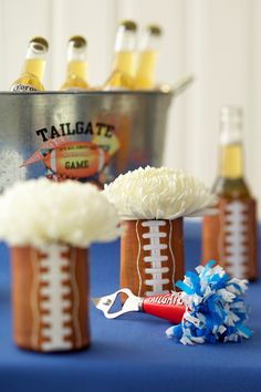 Fun way to incorporate blooms — use football koozies!