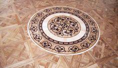 wood inlay floor medallion