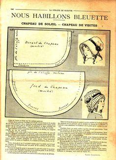 PAR AMOUR DES POUPEES :: 1916 -07- Bleuette chapeau de soleil, chapeau de visite