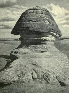 Egypt - The Great Sphinx Photograph taken of the back-side of the head in 1880 In the photo on the left side you can see that the body is almost covered with sand; still buried. Ancient Mysteries, Ancient Ruins, Ancient Art, Ancient Egypt, Ancient History, Art History, Pyramids Egypt, Old Egypt, Visit Egypt