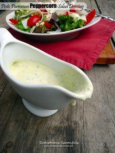Pesto Parmesan Peppercorn Salad Dressing ~ Sumptuous Spoonfuls #homemade #healthy #salad #dressing #recipe