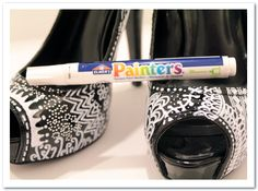 DIY basic black heels into something amazing with Painters Paint Markers. Love this!