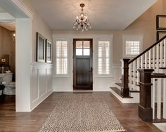 ben moore manchester tan 2013 Spring Parade Of Homes traditional entry Wainscoting Height, Black Wainscoting, Wainscoting Nursery, Wainscoting Kitchen, Painted Wainscoting, Dining Room Wainscoting, Wainscoting Panels, Wainscoting Ideas, Manchester Tan