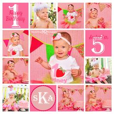 Girl first birthday portraits // Strawberry themed, cake smash, outdoors, tutu // by Mandy Ringe Photography