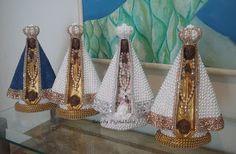 Rosely Pignataro: Arte Sacra,oratório com pérolas, santas ,santos an...