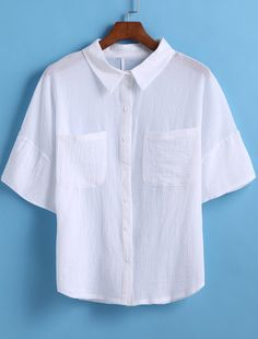 White Lapel Short Sleeve Pockets Crop Blouse-SheIn