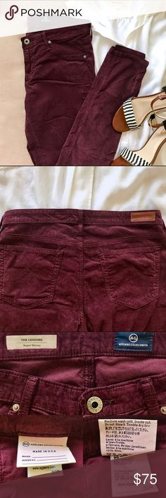 """AG Adriano Goldschmied The Legging Super Skinny AG's The Legging pant offers a super skinny leg and is constructed of soft stretchy cotton that looks like velvet corduroy. Five pocket style with faux front pockets. Zip fly with button closure. These """"crushed grape"""" colored pants look best with a crisp white top and strappy sandals. AG Adriano Goldschmied Pants Skinny"""