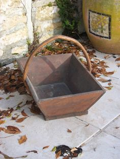 Gardener's Trug  French Vintage Wood Potager Basket by Marchepuces