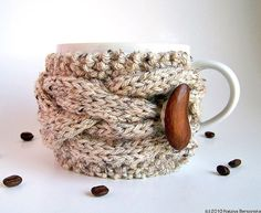 Knitted Cup Cozy Knit Mug Cozy Oatmeal Cup Cozy by natalya1905