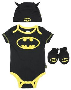 Amazon.com: DC Comics Batman Infant 3-piece Layette Gift Set - Black: Clothing