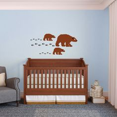 Cute Happy Little Family of Bears with Tracks   Wall by danadecals