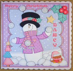 Card Gallery - 8 x 8 Christmas Snowball Fun Snowman Rio Scalloped Topper