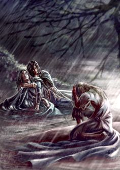 'Then a wind arose, and great rain fell, and torrents swept down from the heights of Taur-nu-Fuin; and though Gwindor cried out to Turin, warning him of their utmost peril, he made no answer, but sat unmoving and unweeping in tempest beside the body of Beleg Cuthalion...'