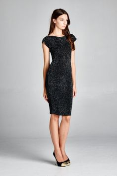 Milla Dress in Black Shimmer | Women's Clothes, Casual Dresses, Fashion Earrings & Accessories | Sponsored by Emma Stine