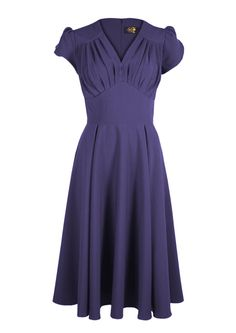 So Foxy Retro Dress - Plum - Fashion 1940s  vintage reproduction