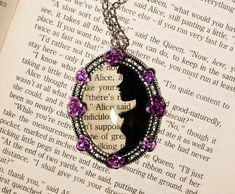Alice in Wonderland Cameo Pendant Necklace Cabochon Ink Paper