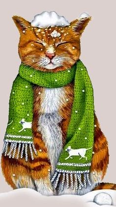 I Love Cats, Cute Cats, Funny Cats, Crazy Cat Lady, Crazy Cats, Here Kitty Kitty, Cat Drawing, Christmas Cats, Animal Paintings