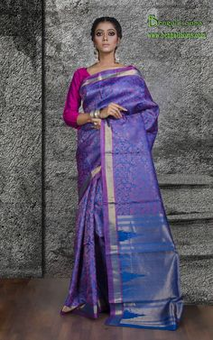Brocade Tussar Silk Saree in Blue and Purple
