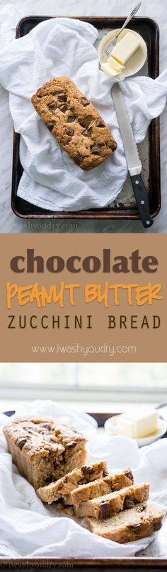 Chocolate Peanut Butter Cup Zucchini Bread - one of our favorite afternoon snacks. It's a nice change from regular zucchini bread!
