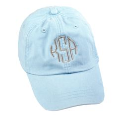 22f8b514 Baby Blue Monogram Baseball Hat│HandPicked Twins Baseball, Orioles Baseball,  Braves Baseball,