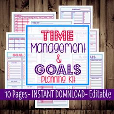 Printable Daily Planner, Monthly, Weekly, To Do List, Calendar-Time Management & Goals Planning Kit-9 Sheets-Dots-INSTANT and EDITABLE