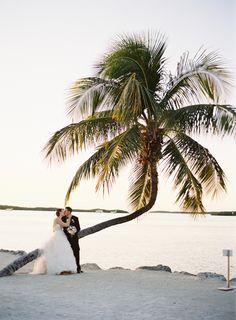 Pink beach wedding in the Florida Keys