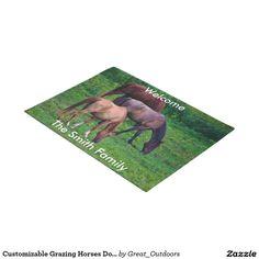 Customizable Grazing Horses Door Mat