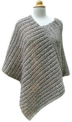 Crochet Poncho Amagansett Poncho PDF Pattern - Morehouse Farm - Classy by day or night, from the city out to the East End. Size: Adult Small, Medium, and Large Yarn: 8 skeins of Morehouse Merino choose 2 colors! Poncho Shawl, Knitted Poncho, Knitted Shawls, Crochet Scarves, Grey Poncho, Capelet, Poncho Knitting Patterns, Loom Knitting, Knit Patterns