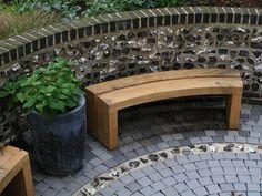 curved back garden bench oak curved outdoor bench curved garden bench seat - Modern Curved Outdoor Benches, Curved Bench, Outdoor Garden Bench, Wooden Garden Benches, Garden Seating, Indoor Garden, Outdoor Decor, Curved Wood, Outdoor Gardens