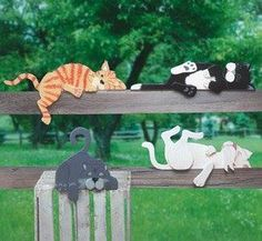 Lazy Rail Cats Woodcraft Pattern These four lazy felines look great displayed on. Lazy Rail Cats W Yard Art Crafts, Cat Crafts, Arts And Crafts, Wood Yard Art, Wood Art, Fun Projects, Wood Projects, Garden Projects, Halloween Wood Crafts