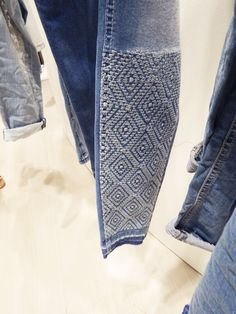 Risultati immagini per trends for men Jeans Pants, Denim Jeans, Trousers, Sashiko Embroidery, Jean Embroidery, Estilo Jeans, Visible Mending, Diy Shorts, Patchwork Jeans