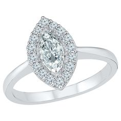 Marquise-shaped Created White Sapphire & Composite frame of Created White Sapphire Ring in Sterling Silver (