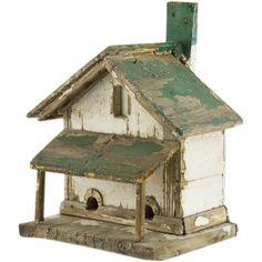 Rustic Painted Bird House - Vintage Folk Art