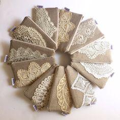 Items similar to Set of Linen Burlap Clutch Vintage Doily Bridesmaid Gift on Etsy Linen Burlap Clutch Vintage Doily Bridesmaid by JuneberryStitches