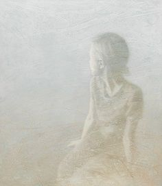 oil painting of female figure on wrinkled lace by susan hall