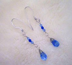 Blue-tiful Crystal & Silver Dangle Earrings - Royal, Cobalt and Sky, by SoBayBaubles, $8.75