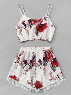 floral knot lace waist two-piece outfit ~ romwe Really Cute Outfits, Cute Lazy Outfits, Teenage Girl Outfits, Crop Top Outfits, Girls Fashion Clothes, Summer Fashion Outfits, Girly Outfits, Pretty Outfits, Stylish Outfits