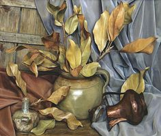 Oil Painting American Artist Luigi Lucioni, Modern art, still life paintings. Harmony in Minor Key, c. 1974
