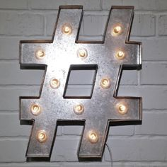 Custom 21 Metal Hashtag Vintage Marquee Sign