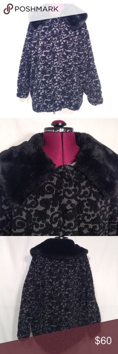 """A-line Swing Style Coat size Medium This is a fabulously warm coat!  The outside is a textured furry fleece like fabric, the inside a soft cotton.  Swing style and loose fitting.  Underarm to underarm is approx 27"""", length is approx 26.5"""".  Two side pockets and sleeves can be rolled up, they are approx 28"""" long.  I would say it runs big, I wear a medium and it fits with quite a bit of room, definitely room for a heavy sweater underneath!  Polyester blend , with cotton lining and fake fur…"""